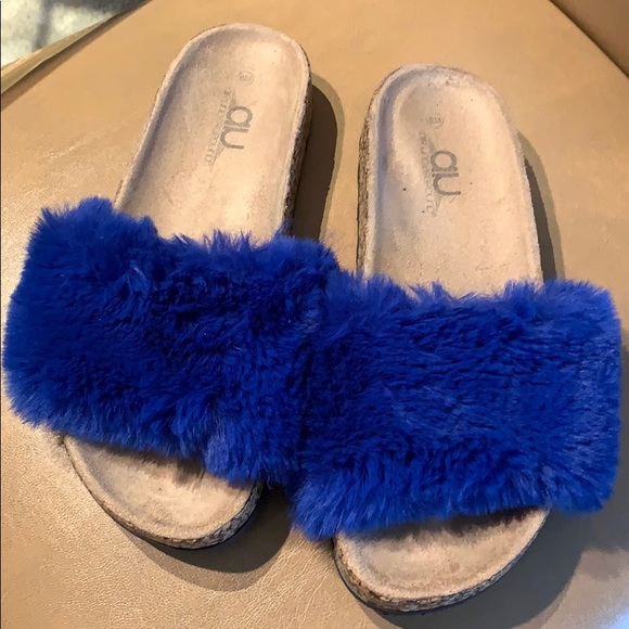 Air Underground Shoes - Blue Furry Slide In Shoes!